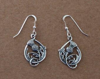 Earrings - Sterling Silver THISTLE & PINEAPPLE - Celtic, Irish, Scottish
