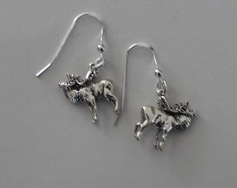 Sterling Silver 3D ELK Earrings - Wildlife, Totem