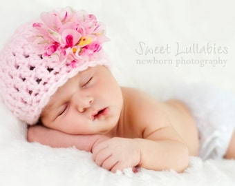 Crochet Baby Girl Flower Hat, Baby Girl Hat, Newborn Girl Beanie, Infant Girl Coming Home Hat, Pink