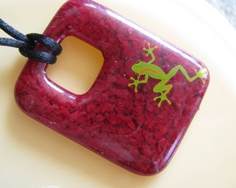 Wine Red Fused Glass Pendant Necklace, Frog Pendant, Green Frog and Red Tag Pendant