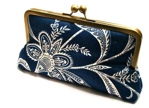 Analea Clutch, Handbag  lined in Salmon Dupioni Silk