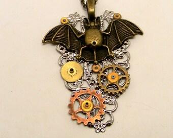 Steampunk pendant. Steampunk bat necklace.