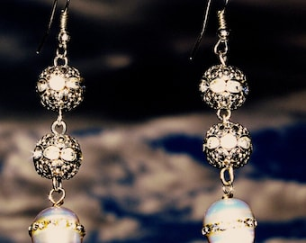 Bride Bridal Bridesmaid Dangling Earring with 3 Different Swarovski Crystal, Pearl and Silver Beads Jewelr