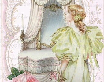 Large digital download Victorian lady in green  pink roses BUY 3 get one FREE ecs rdtt svfteam