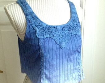 Lavender Fairy Crop Cropped Elven Cami Top - Hand Dyed Ombre Crochet Yoke