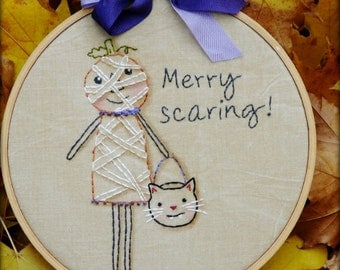 Halloween Merry scaring embroidery Pattern PDF -  pumpkin cat seam binding