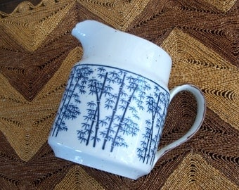 Vintage Pottery Stoneware Pitcher with Blue Bamboo Design