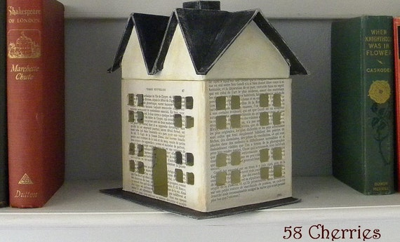 Vintage French Text Fairy House with Black Roof - Medium - Grubby Prim and Shabby Decor - Great Fall or Christmas Display