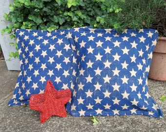 2 READY to SHIP Burlap Pillows Throw Country Christmas Pillow Covers AMERICANA Decorative Pillows French Country Farmhouse Porch Decor