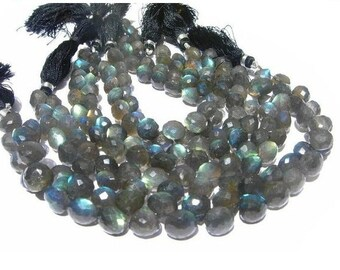 1/2 Strand 20 Pcs Blue Flashy Labradorite Micro Faceted Onion Briolettes Size 8-10mm approx