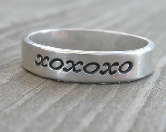 XOXO Band Sterling Stacking Ring Size 6.75 PMC Artisan Jewelry