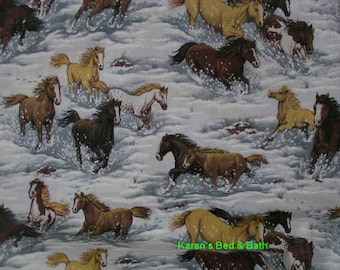 Horse Pony Snow Winter Scenic Custom Sewn Curtain Valance
