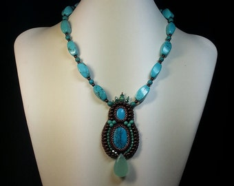 Chocolate and Turquoise Necklace