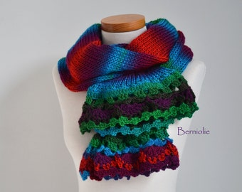 Knitted scarf,bright colors with lace crochet trim K88