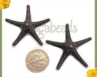 4 Antiqued Copper Starfish Pendants 36mm