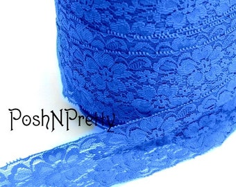 "2"" Premium Lace Stretch Elastic Trim, Floral, Lingerie, Wedding Garter, Baby Headbands - Royal Blue - 5 yards"