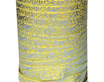 Sparkle 5 Yards Foil Print Fold Over Elastic - Silver Swirl Yellow. Stretchy High quality Elastic!