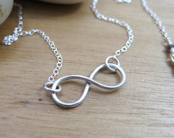 Sterling Silver Infinity Necklace Silver Infinity Jewelry Minimalist Necklace Infinity Pendant Layering Necklace Silver Necklace - Infinity