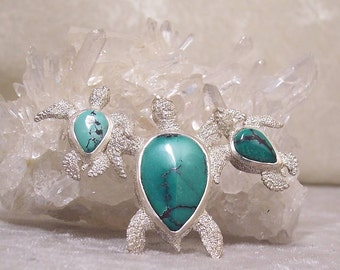 TEAL TURQUOISE - OOAK Triple Sea Turtle Centerpiece in Stone and Sterling  Silver
