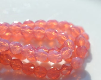 Milky PInk 6mm Round Faceted FIre Polish Beads  25