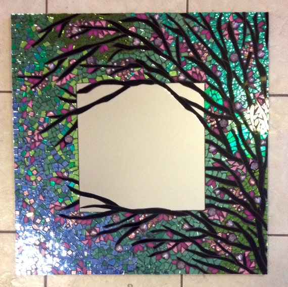 Mosaic mirror large handmade stained glass for Mosaic mirror