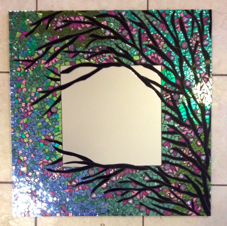 Mosaic Mirror Large Handmade Stained Glass