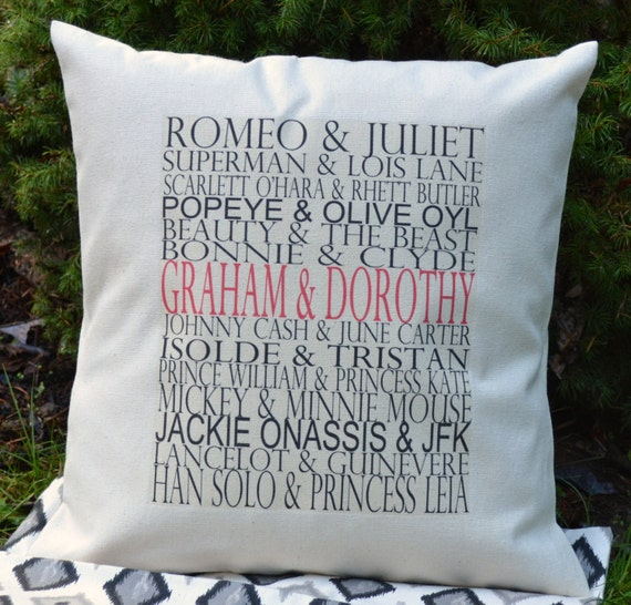 Personalized famous couples pillow housewarming gift by Best housewarming gifts for couples