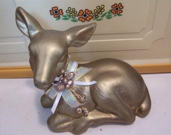 enesco gold deer figurine