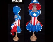 Custom Size - America Captain Corset Bustle Skirt Top Hoodie Shrug Cosplay Costume by LoriAnn Costume Designs