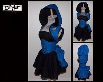 CUSTOM Science Officer Blue Steampunk Hoodie Shrug Waist Cincher Mini Skirt Bustle Top by LoriAnn