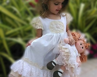 Tea length vintage lace embellished dress plus matching dressed doll, birthday gift, wedding flower girl gift
