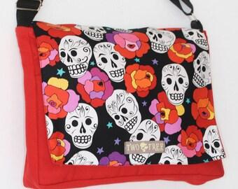 Red Day Of The Dead Sugar Skull ROSE MESSENGER Book Laptop Diaper BAG