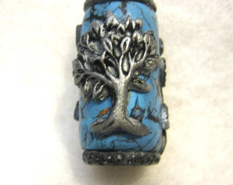 Dread Bead  Tree of Life On Faux Turquoise  You Choose Hole Size