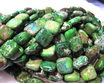 40% Off Variscite Green Sea sediment Jasper / impression Jasper Approx 10x10x5mm flat square Stone Beads