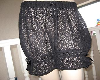 Sequoia Goth,Rock,Black Lace Sheer Sissy Short Bloomers,Pantalooms,Lolita,Punk,Fetish all sizes