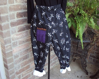 skeleton pantaloons with witch hat - knickers, capris, crop pants, girls size 12 OOAK  Design your own costume