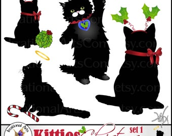 INSTANT DOWNLOAD Kitties Christmas set 1 with 4 digital clipart graphics with adorable Cat Silhouettes and peg tags holly candy cane halo