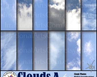 Clouds A set 1 - digital scrapbooking papers 12 jpg files - gorgeous blue skies with clouds [INSTANT DOWNLOAD]