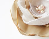 Champagne and White Flower in Organza and Satin Swarovski Crystal Pearl Wedding Fascinator