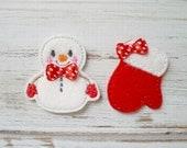 Snowman and Mitten Felt Appliques, Snowman Felt Appliques, Embroidered Appliques, Winter Appliques, Mitten and Snowman Felt Appliques