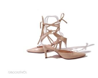Avant Garde Helmut Lang Shoes // Vintage 90s Ankle Strap Designer Heels US Size 7