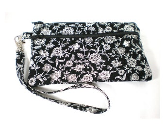 Smartphone iPhone Cell Phone Case, Double Pocket Wristlet, Detachable Strap, Black and White Small Floral