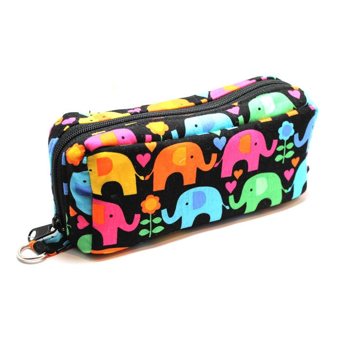 Essential Oil Case - colorful elephants - holds 10 Bottles