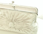 Ivory Satin Button Clutch - Size Large - Ready To Ship