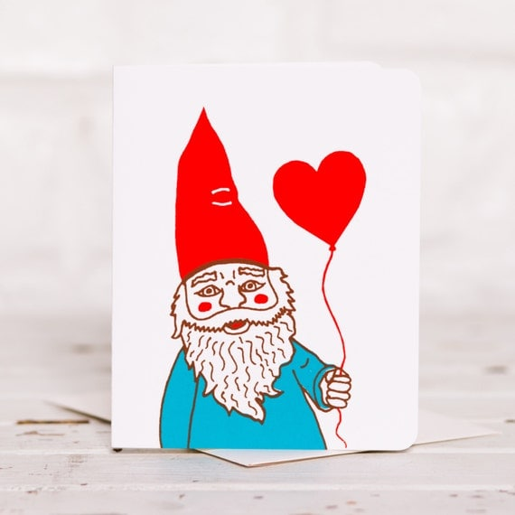 Gnome with Heart Balloon Card