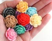 20pcs shiny garden rose resin flower cabochons / 24mm, 10 colors / make diy rings, pendants, earrings