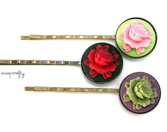 10pc 18mm antique brass cabochon 18mm setting hairpins / bezel cameo cab blanks / diy hair pins / lead, nickel free antique bronze