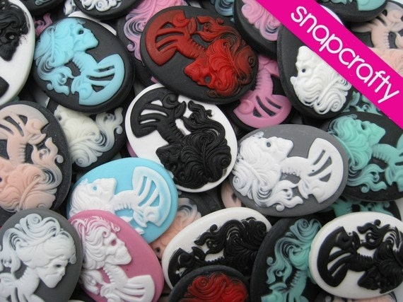 SALE 20pc mix 40x30mm lovely lolita skeleton cameos / cameo grab bag / 30x40mm cabochon assortment