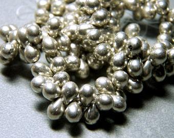 Czech Silver Glass Teardrop Beads 5x7mm (50) 0712