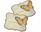 Butterfly Gift Tag, Springtime Tag, Paris Gift Tag, Bridal Shower Tag, Party Favor Hang Tag